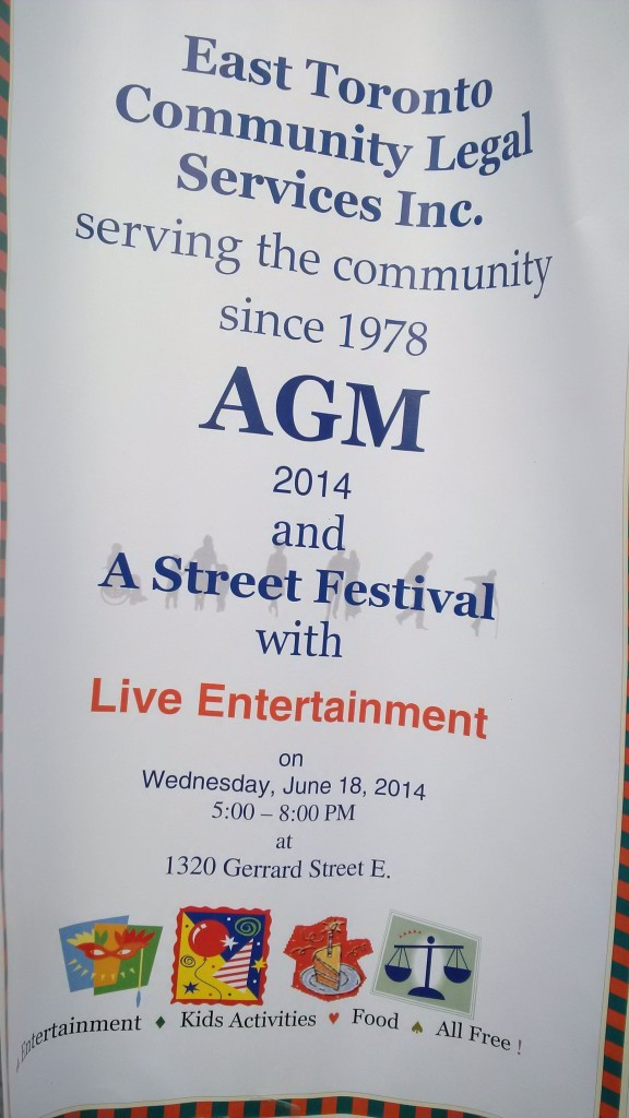 East Toronto Legal Services AGM street festival June 18 2014