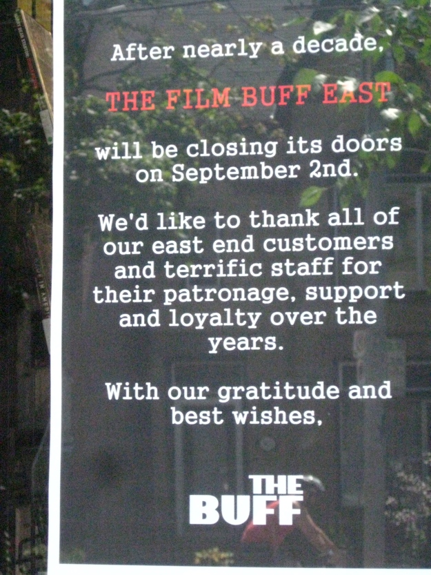 Film Buff East closing its doors