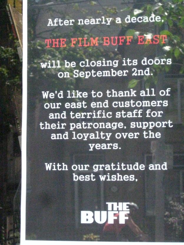 Film Buff East closing its doors