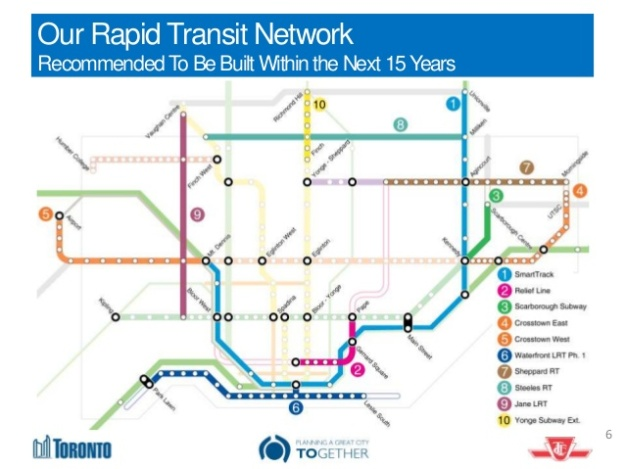 Plans for Toronto transit proposed projects over the next 15 years