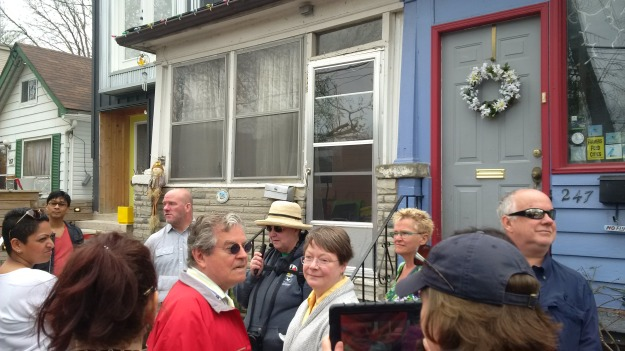 Joanne Doucette with Jane's Walk participants at 247 Craven Road, May 7, 2016.