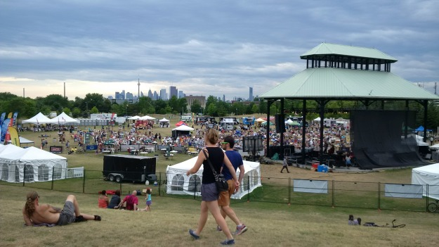 Beaches Jazz Festival, Woodbine Park - July 17, 2016. Looking west toward Coxwell Avenue and downtown Toronto.