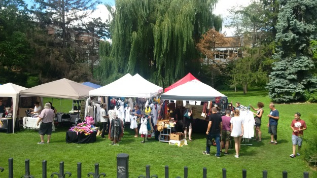 Flea market at Ashbridge Estate - giant willow and Duke of Connaught school in the background.