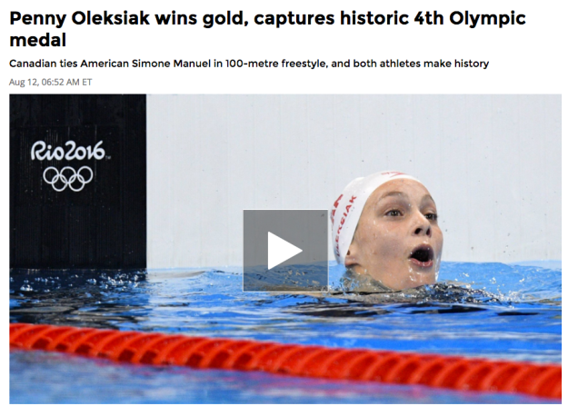 Penny-Oleksiak-gold-CBC